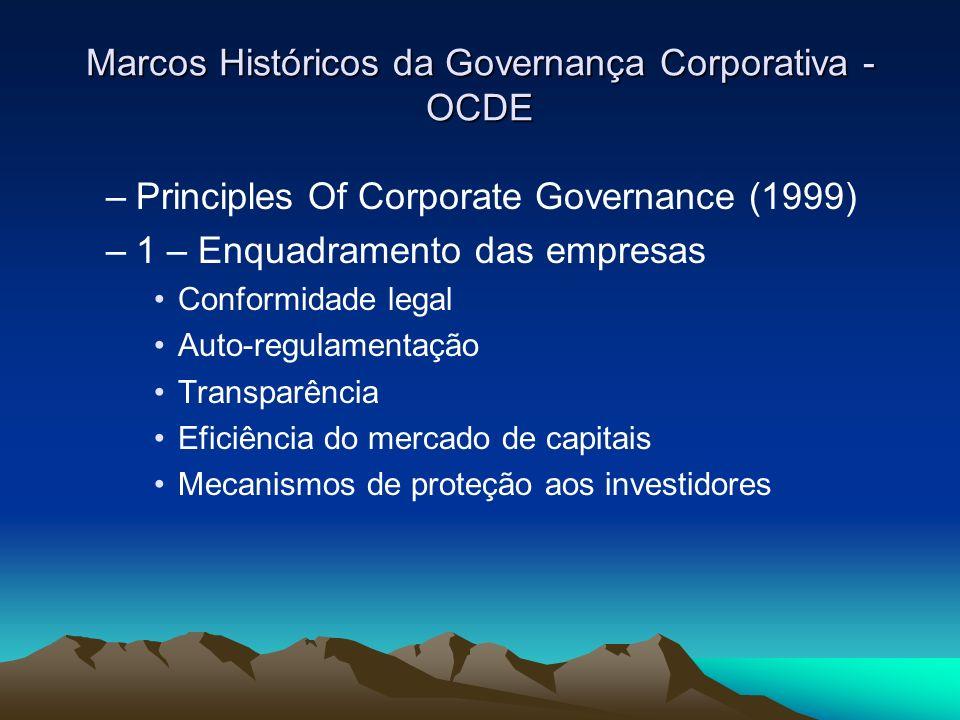 Marcos Históricos da Governança Corporativa - OCDE –Principles Of Corporate Governance (1999) –1 – Enquadramento das empresas Conformidade legal Auto-