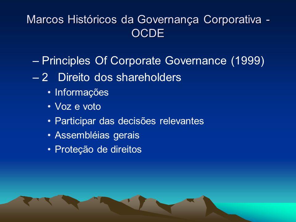 Marcos Históricos da Governança Corporativa - OCDE –Principles Of Corporate Governance (1999) –2 Direito dos shareholders Informações Voz e voto Parti