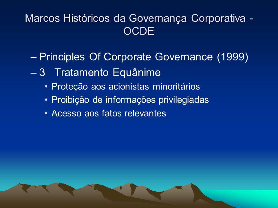 Marcos Históricos da Governança Corporativa - OCDE –Principles Of Corporate Governance (1999) –3 Tratamento Equânime Proteção aos acionistas minoritár