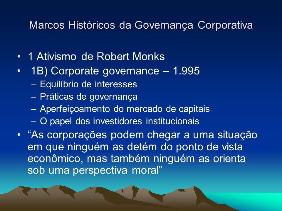 Marcos Históricos da Governança Corporativa 1 Ativismo de Robert Monks 1B) Corporate governance – 1.995 –Equilíbrio de interesses –Práticas de governa