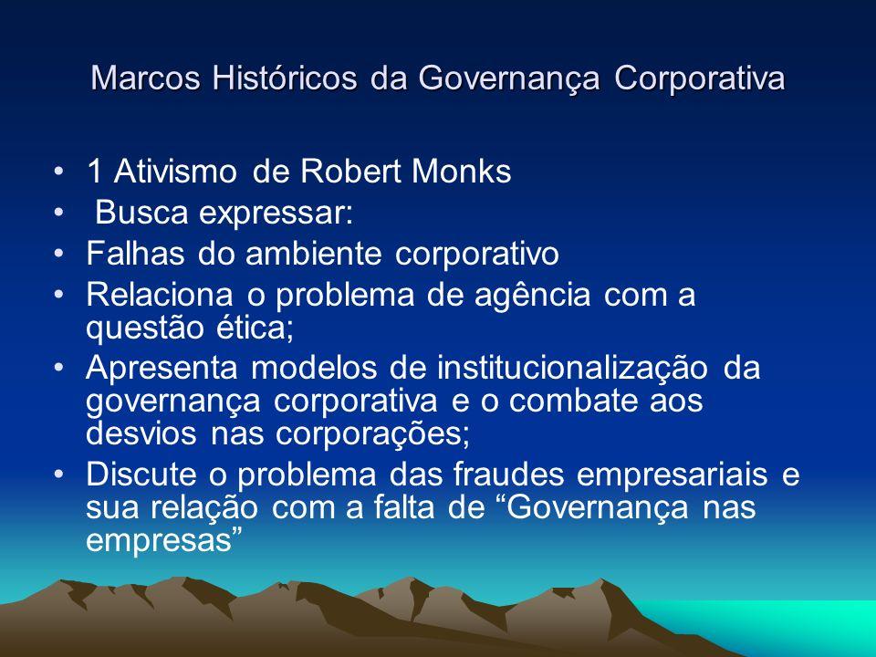 Marcos Históricos da Governança Corporativa - OCDE –Principles Of Corporate Governance (1999) –1 – Enquadramento das empresas Conformidade legal Auto-regulamentação Transparência Eficiência do mercado de capitais Mecanismos de proteção aos investidores