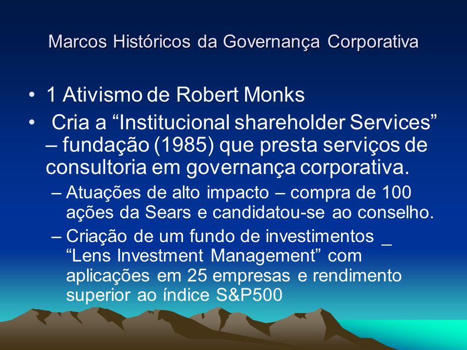 Marcos Históricos da Governança Corporativa 1 Ativismo de Robert Monks Cria a Institucional shareholder Services – fundação (1985) que presta serviços