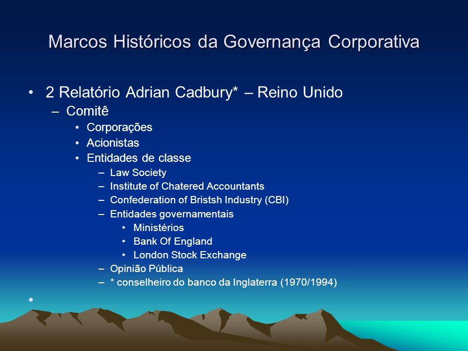 Marcos Históricos da Governança Corporativa 2 Relatório Cadbury – 1.992 –Normas de Governança do Reino Unido –Revisões e aperfeiçoamentos Relatório Greenbury – 1995; Relatório Hampel – 1998; Relatório Trunbull – 1999 Relatório Higgs - 2003