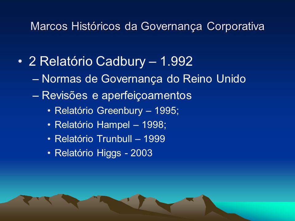 Marcos Históricos da Governança Corporativa 2 Relatório Cadbury – 1.992 Exigiu: Transparência Clareza Responsabilidade –Executivos –Auditores –Fortalecimento dos canais de comunicação –Revisão da legislação comercial