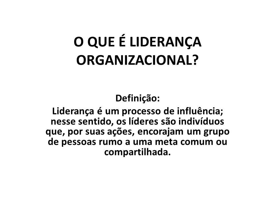 O QUE É LIDERANÇA ORGANIZACIONAL? Definição: Liderança é um processo de influência; nesse sentido, os líderes são indivíduos que, por suas ações, enco