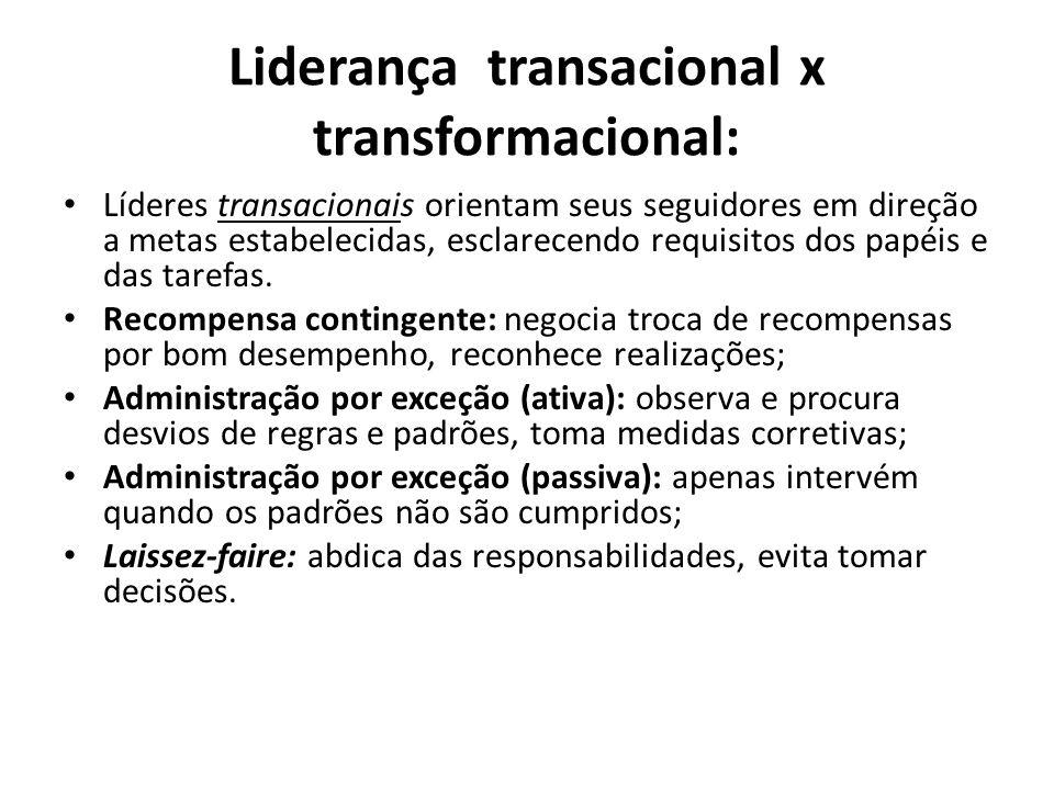 Liderança transacional x transformacional Líderes transformacionais (1) inspiram os seguidores a transcenderem seus interesses pessoais em favor da organização e (2) exercem um efeito profundo e extraordinário sobre eles.