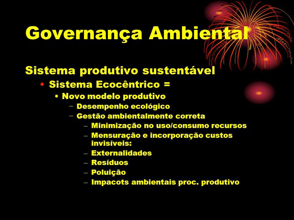 Governança Ambiental Sistema produtivo sustentável Sistema Ecocêntrico = Novo modelo produtivo Desempenho ecológico Gestão ambientalmente correta – Revisão dos processos produtivos – Pensamento sistêmico causa/efeito