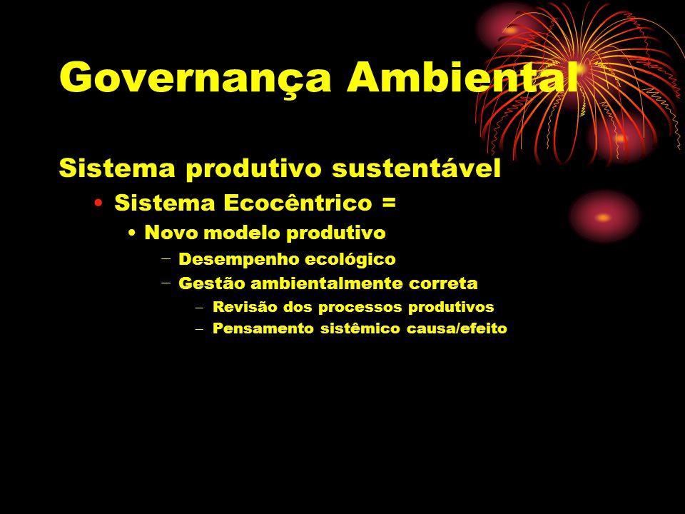 Governança Ambiental NBR 14001 Itens: Política ambiental Comprometimento com a melhoras contínua e prevenção da poluição; Comprometimento aos requisitos legais; Estrutura ambiental; Documentação ambiental; Comunicação ambiental