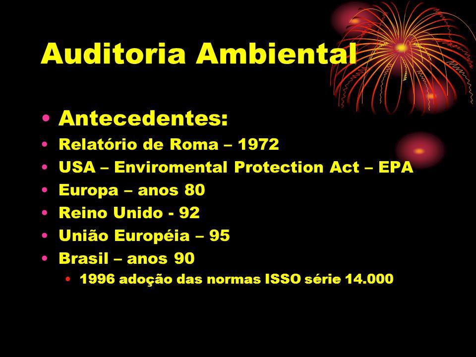 Auditoria Ambiental Antecedentes: Relatório de Roma – 1972 USA – Enviromental Protection Act – EPA Europa – anos 80 Reino Unido - 92 União Européia –