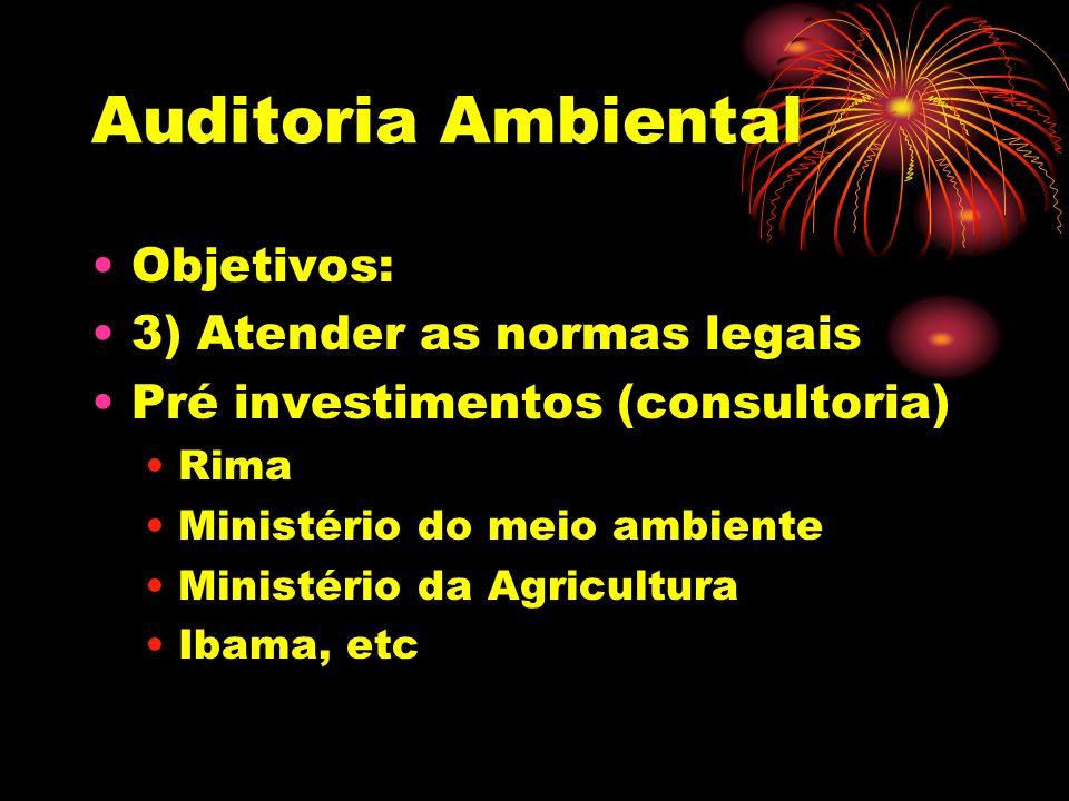 Auditoria Ambiental Objetivos: 3) Atender as normas legais Pré investimentos (consultoria) Rima Ministério do meio ambiente Ministério da Agricultura