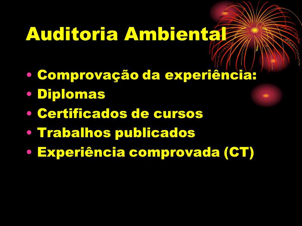 Auditoria Ambiental Comprovação da experiência: Diplomas Certificados de cursos Trabalhos publicados Experiência comprovada (CT)