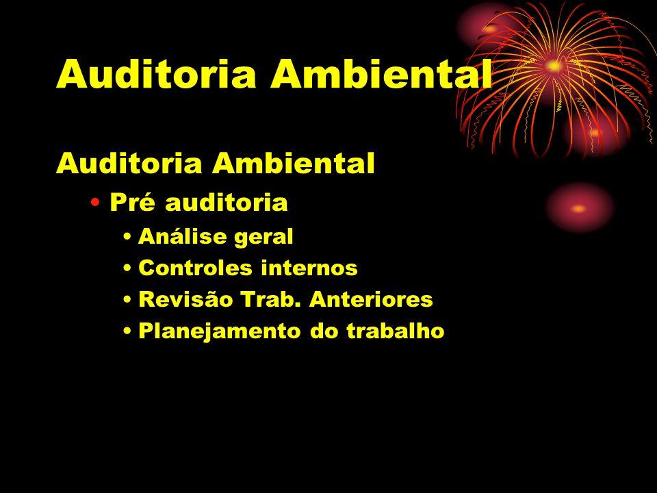 Auditoria Ambiental Pré auditoria Análise geral Controles internos Revisão Trab. Anteriores Planejamento do trabalho