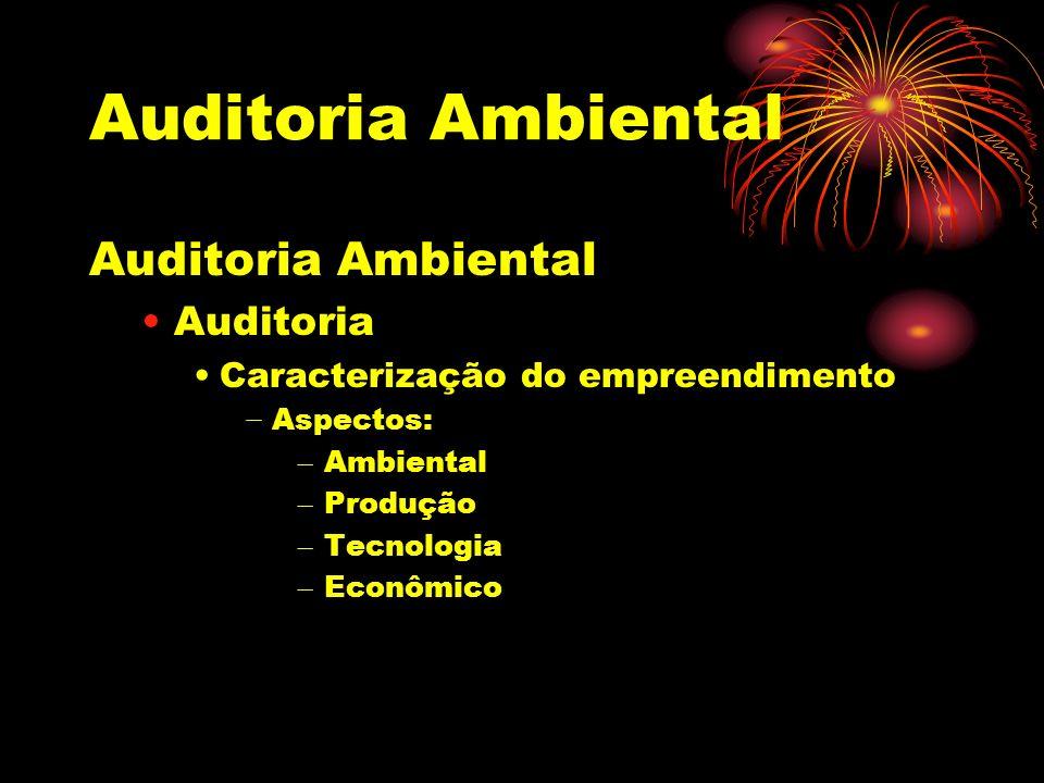 Auditoria Ambiental Auditoria Caracterização do empreendimento Aspectos: – Ambiental – Produção – Tecnologia – Econômico