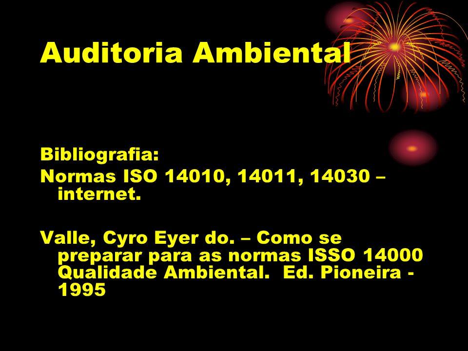Auditoria Ambiental Bibliografia: Normas ISO 14010, 14011, 14030 – internet. Valle, Cyro Eyer do. – Como se preparar para as normas ISSO 14000 Qualida