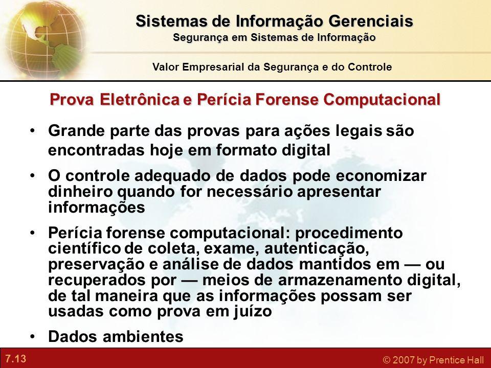 7.13 © 2007 by Prentice Hall Prova Eletrônica e Perícia Forense Computacional Grande parte das provas para ações legais são encontradas hoje em format