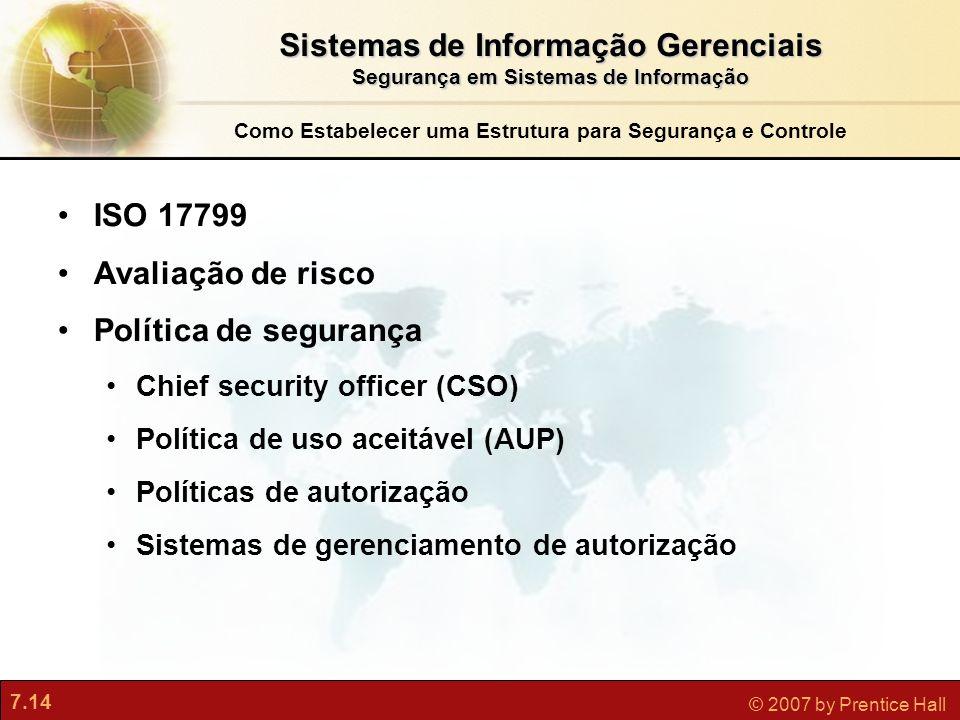 7.14 © 2007 by Prentice Hall Como Estabelecer uma Estrutura para Segurança e Controle ISO 17799 Avaliação de risco Política de segurança Chief securit