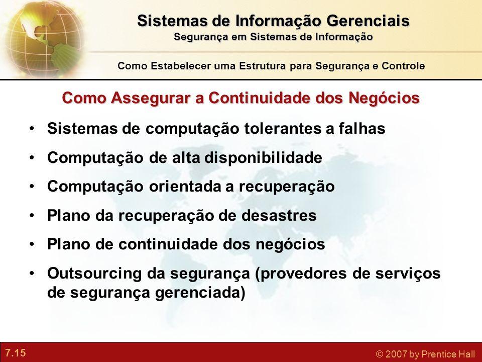 7.15 © 2007 by Prentice Hall Como Assegurar a Continuidade dos Negócios Sistemas de computação tolerantes a falhas Computação de alta disponibilidade