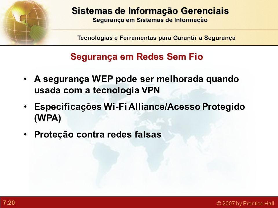 7.20 © 2007 by Prentice Hall A segurança WEP pode ser melhorada quando usada com a tecnologia VPN Especificações Wi-Fi Alliance/Acesso Protegido (WPA)
