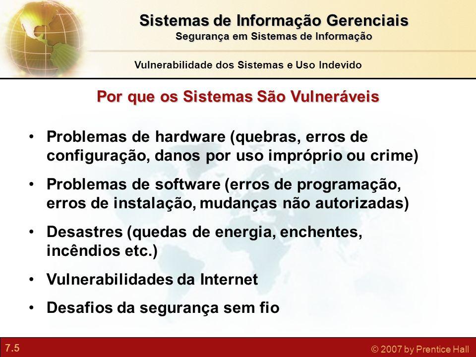 7.5 © 2007 by Prentice Hall Por que os Sistemas São Vulneráveis Problemas de hardware (quebras, erros de configuração, danos por uso impróprio ou crim
