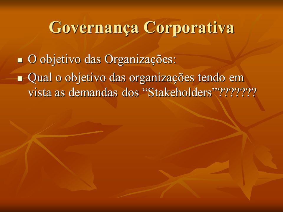 Governança Corporativa O objetivo das Organizações: O objetivo das Organizações: Qual o objetivo das organizações tendo em vista as demandas dos Stake