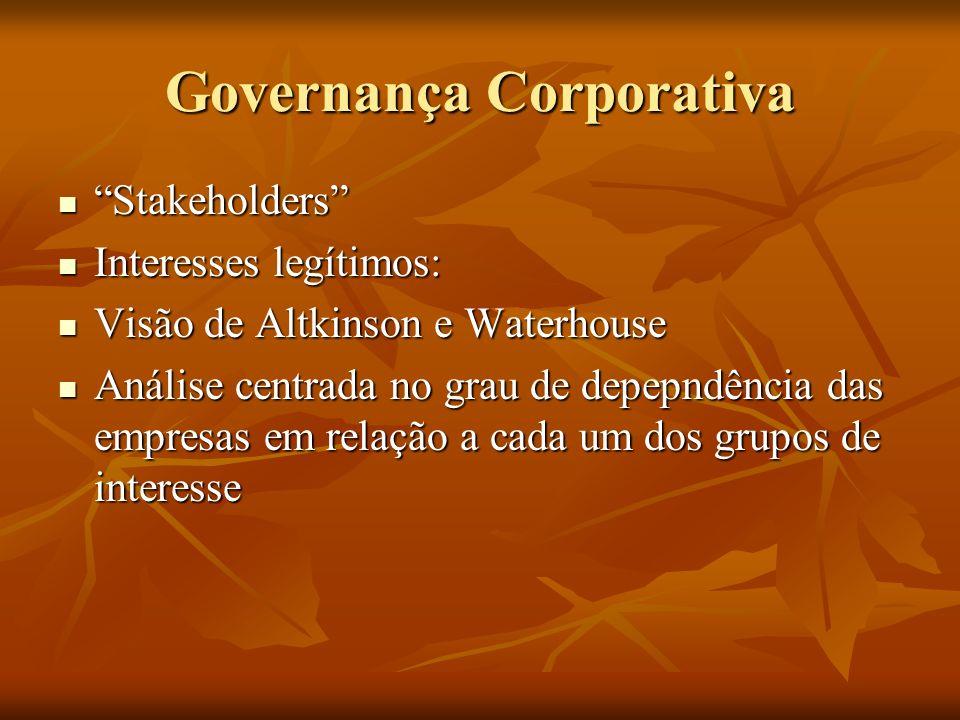 Governança Corporativa Stakeholders Stakeholders Interesses legítimos: Interesses legítimos: Visão de Altkinson e Waterhouse Visão de Altkinson e Wate
