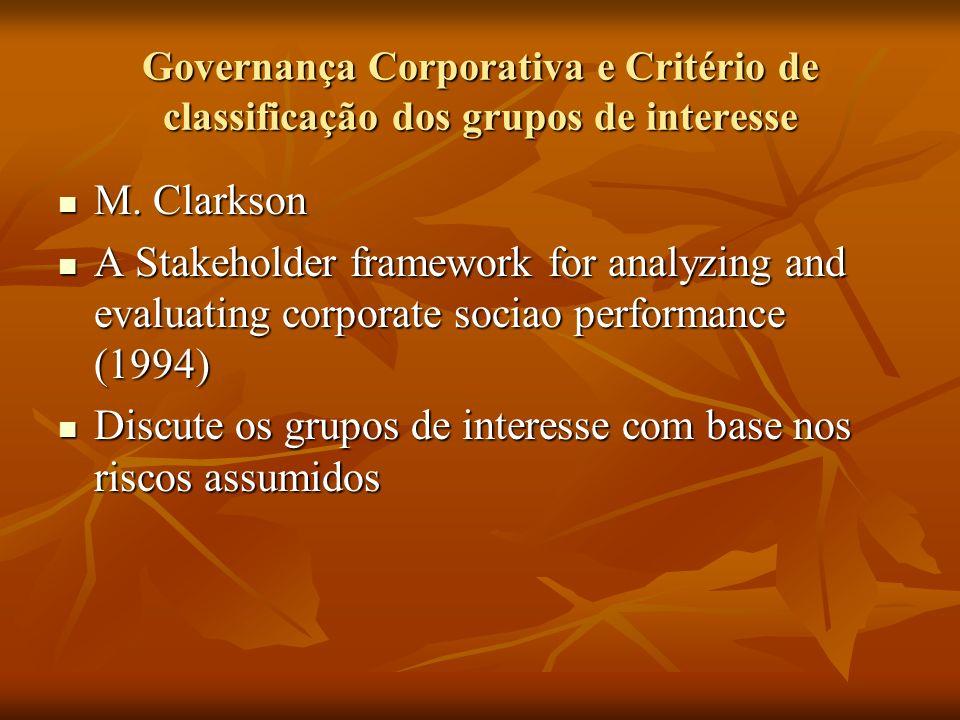 Governança Corporativa e Critério de classificação dos grupos de interesse M. Clarkson M. Clarkson A Stakeholder framework for analyzing and evaluatin