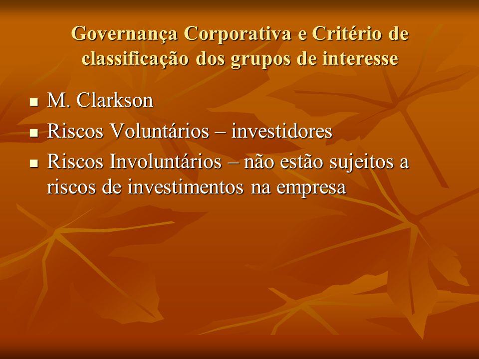 Governança Corporativa e Critério de classificação dos grupos de interesse M. Clarkson M. Clarkson Riscos Voluntários – investidores Riscos Voluntário