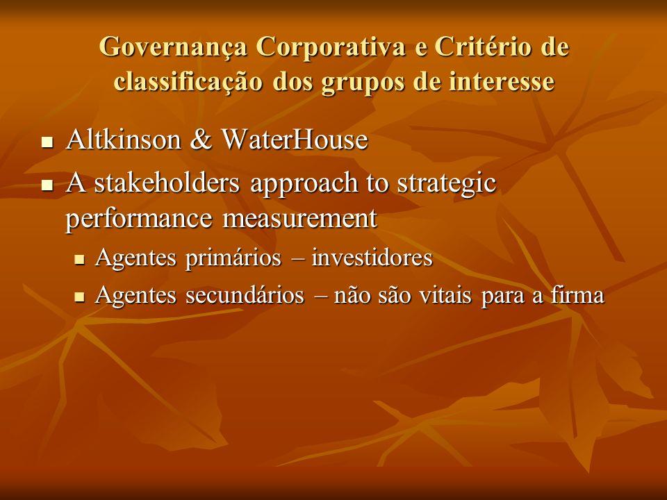 Governança Corporativa e Critério de classificação dos grupos de interesse Altkinson & WaterHouse Altkinson & WaterHouse A stakeholders approach to st