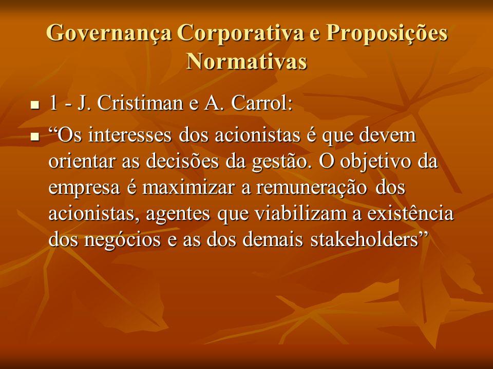 Governança Corporativa e Proposições Normativas 1 - J. Cristiman e A. Carrol: 1 - J. Cristiman e A. Carrol: Os interesses dos acionistas é que devem o