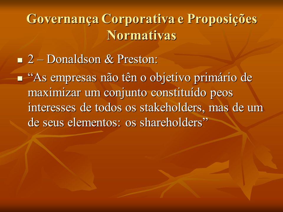 Governança Corporativa e Proposições Normativas 2 – Donaldson & Preston: 2 – Donaldson & Preston: As empresas não tên o objetivo primário de maximizar