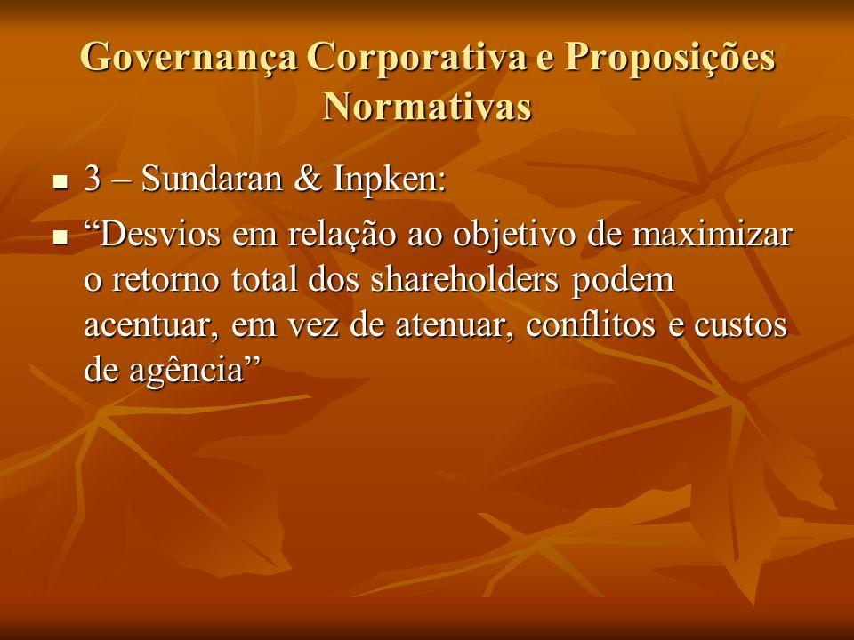 Governança Corporativa e Proposições Normativas 3 – Sundaran & Inpken: 3 – Sundaran & Inpken: Desvios em relação ao objetivo de maximizar o retorno to