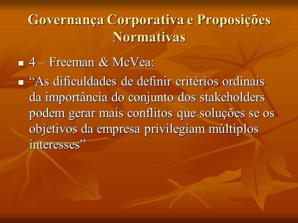 Governança Corporativa e Proposições Normativas 4 – Freeman & McVea: 4 – Freeman & McVea: As dificuldades de definir critérios ordinais da importância