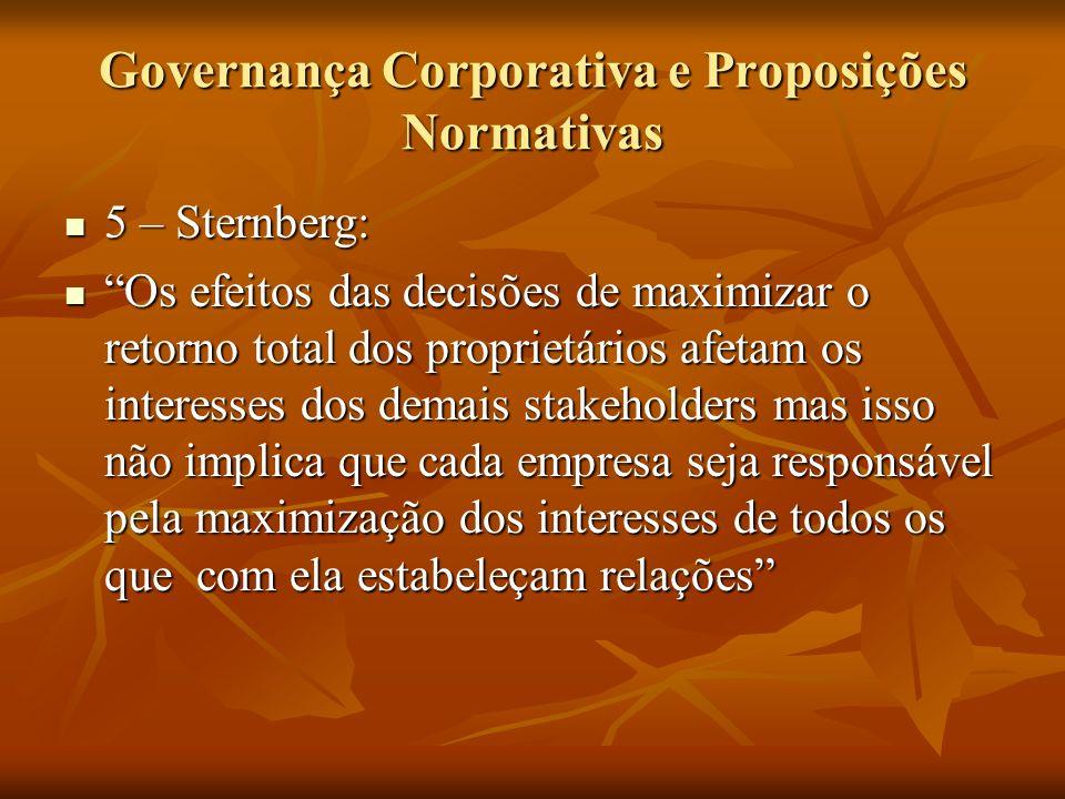 Governança Corporativa e Proposições Normativas 5 – Sternberg: 5 – Sternberg: Os efeitos das decisões de maximizar o retorno total dos proprietários a