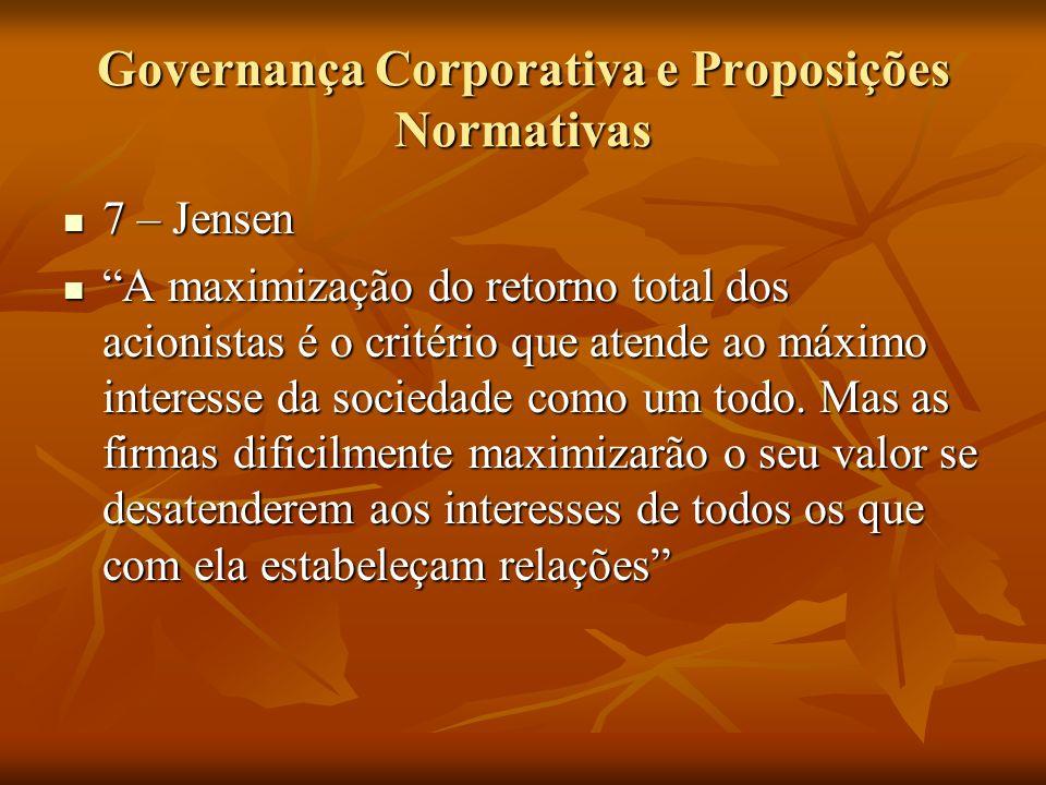 Governança Corporativa e Proposições Normativas 7 – Jensen 7 – Jensen A maximização do retorno total dos acionistas é o critério que atende ao máximo
