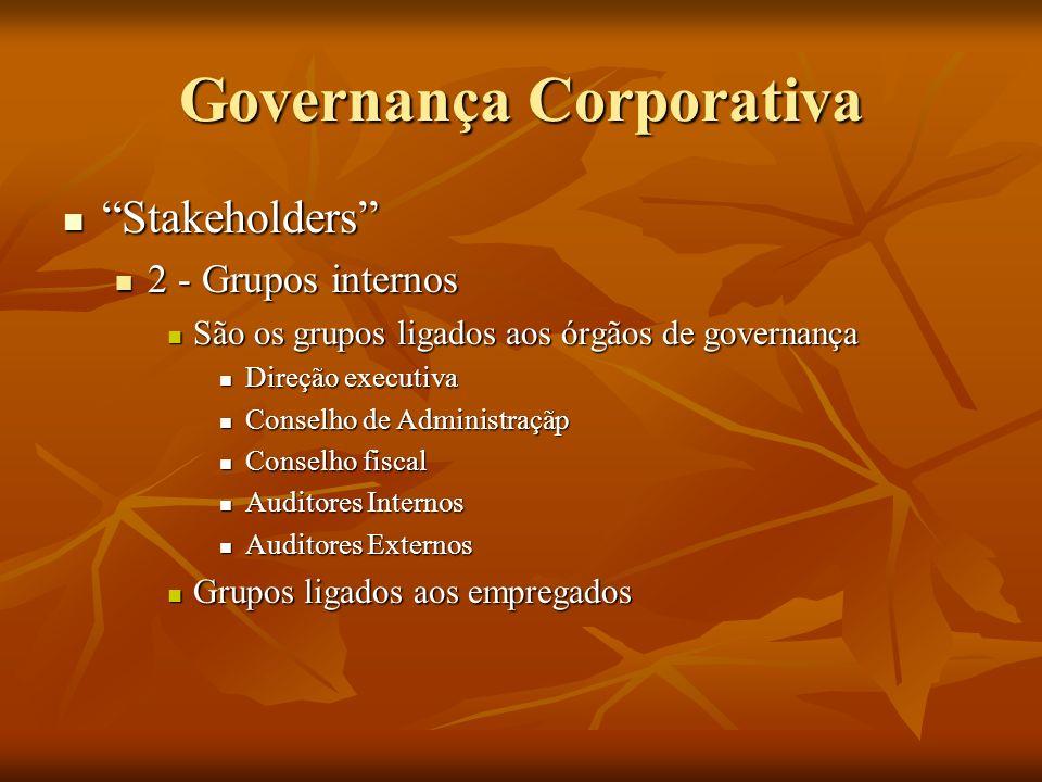 Governança Corporativa Stakeholders Stakeholders 2 - Grupos internos 2 - Grupos internos São os grupos ligados aos órgãos de governança São os grupos