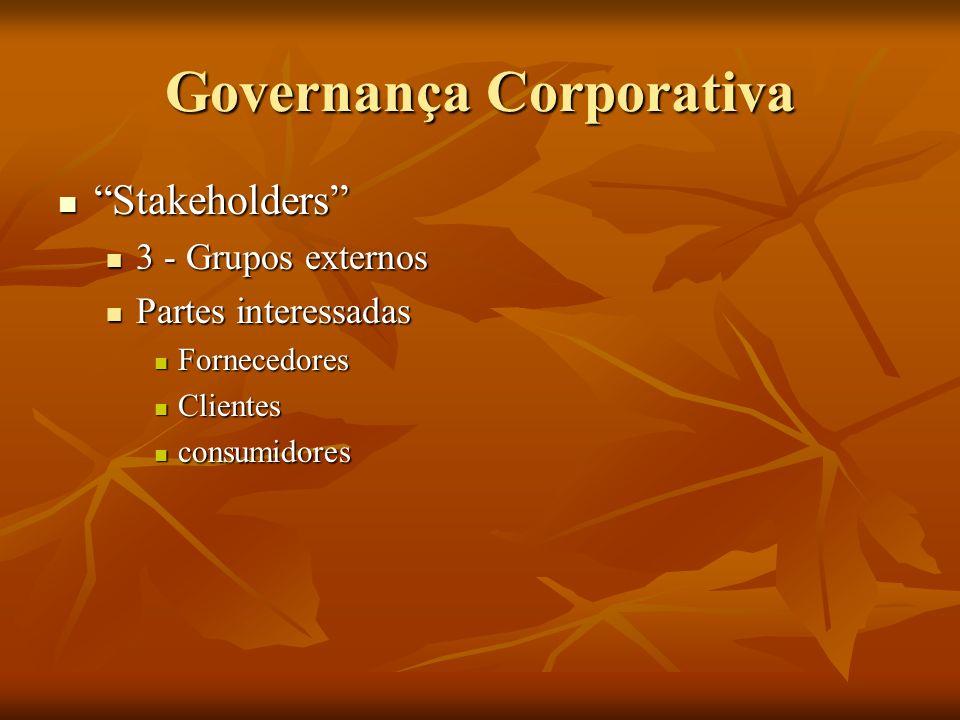 Governança Corporativa Stakeholders Stakeholders 4 – Entorno 4 – Entorno Restrito Restrito Comunidade local Comunidade local Abrangente Abrangente Governos Governos ONGs ONGs