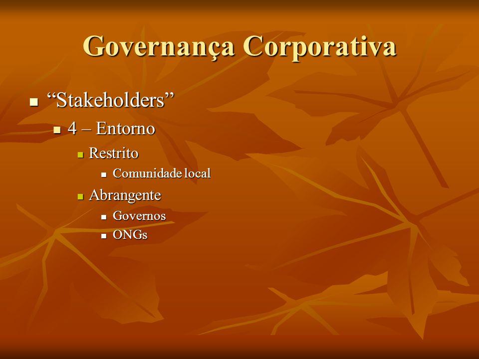 Governança Corporativa Stakeholders Stakeholders Obs.: Cada um destes grupos mantém relações de interesses legítimos no jogo produtivo/empresarial Obs.: Cada um destes grupos mantém relações de interesses legítimos no jogo produtivo/empresarial