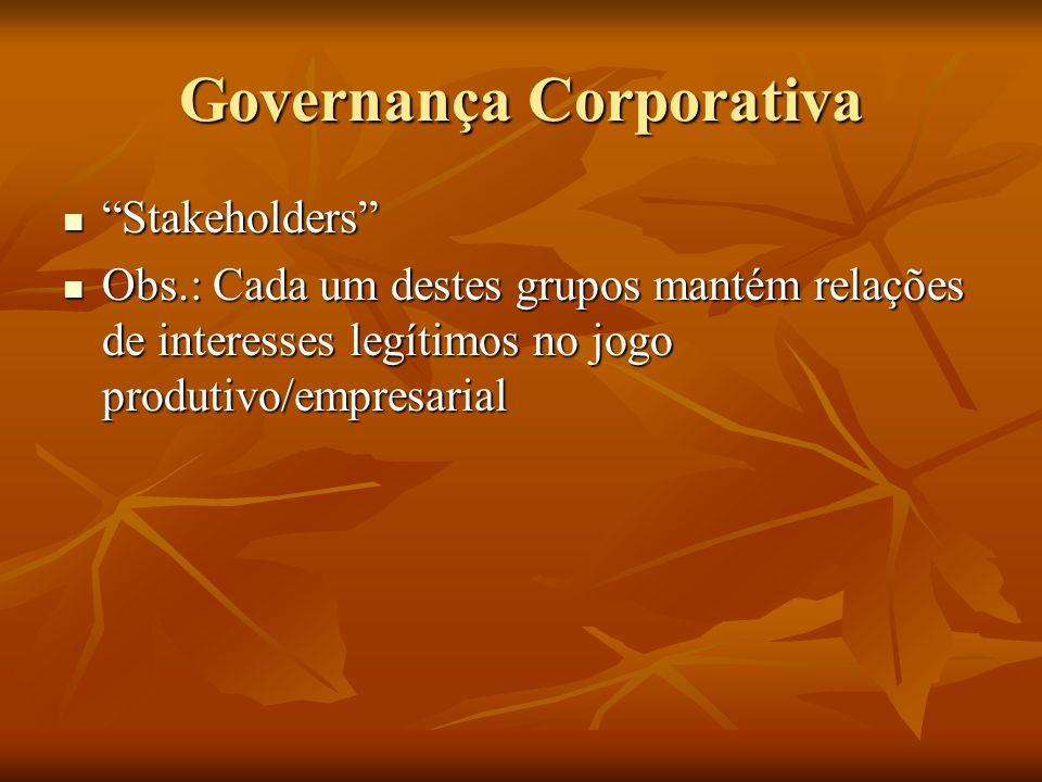 Governança Corporativa Stakeholders Stakeholders Obs.: Cada um destes grupos mantém relações de interesses legítimos no jogo produtivo/empresarial Obs