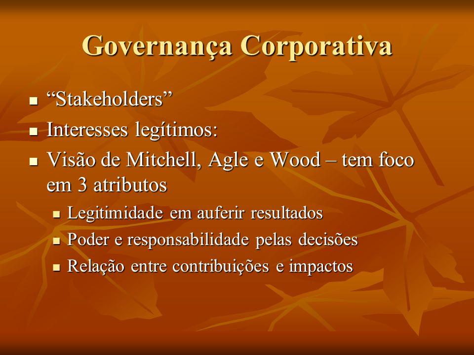 Governança Corporativa Stakeholders Stakeholders Interesses legítimos: Interesses legítimos: Visão de Mitchell, Agle e Wood – tem foco em 3 atributos