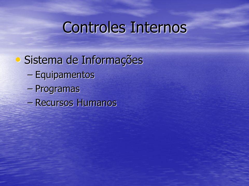 Controles Internos Sistema de Informações Sistema de Informações –Equipamentos –Programas –Recursos Humanos