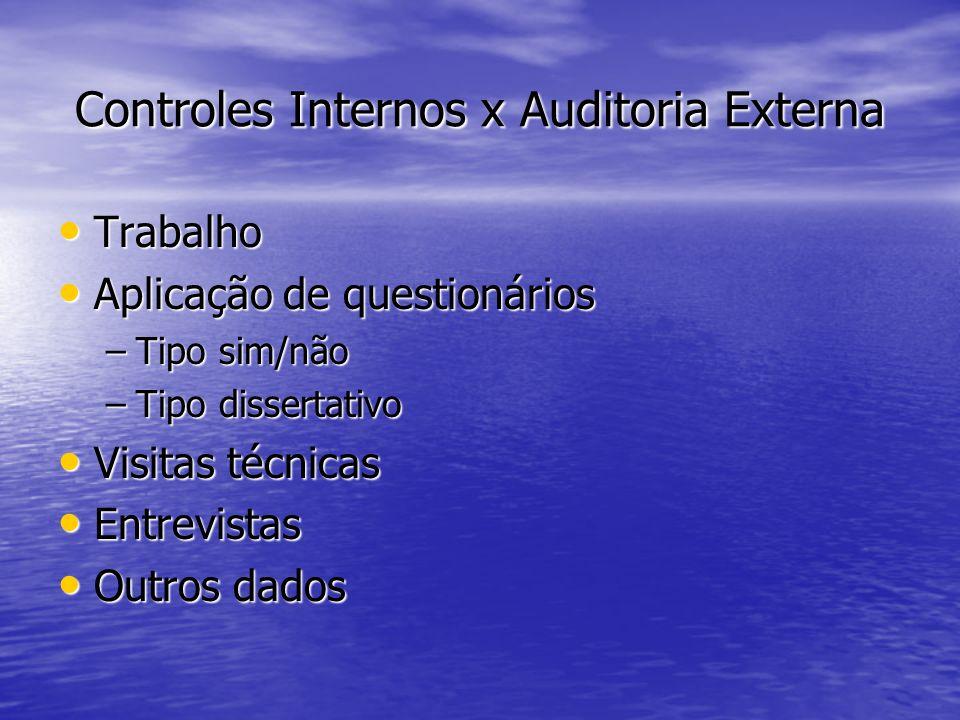Controles Internos x Auditoria Externa Trabalho Trabalho Aplicação de questionários Aplicação de questionários –Tipo sim/não –Tipo dissertativo Visita