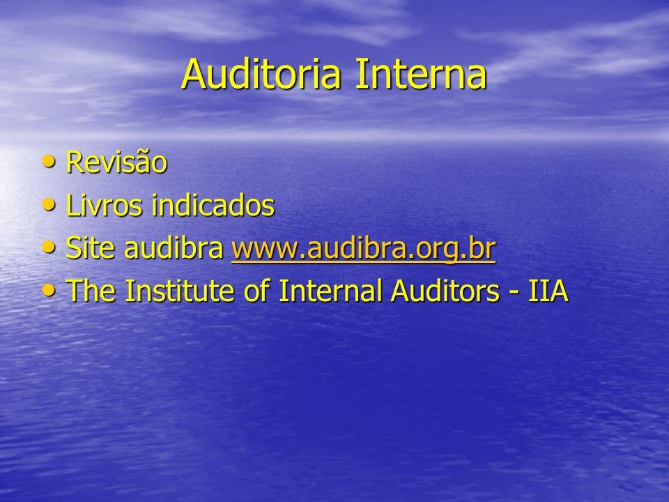 Auditoria Interna Revisão Revisão Livros indicados Livros indicados Site audibra www.audibra.org.br Site audibra www.audibra.org.brwww.audibra.org.br