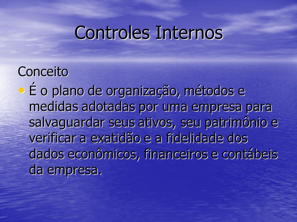 Controles Internos Conceito É o plano de organização, métodos e medidas adotadas por uma empresa para salvaguardar seus ativos, seu patrimônio e verif