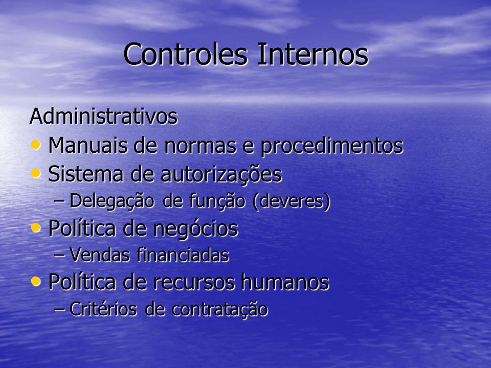 Controles Internos Administrativos Controle de qualidade Controle de qualidade Controle Orçamentário Controle Orçamentário Contrato Social Contrato Social Política de Informática Política de Informática –Controle de acesso aos dados e informações