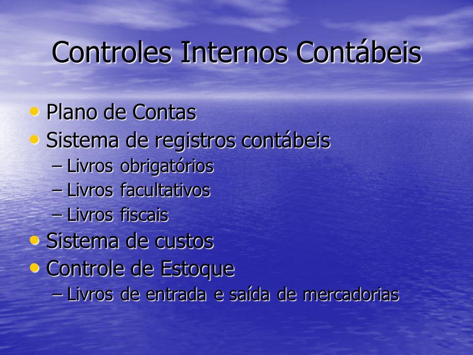 Controles Internos Contábeis Plano de Contas Plano de Contas Sistema de registros contábeis Sistema de registros contábeis –Livros obrigatórios –Livro