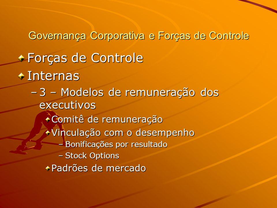 Governança Corporativa e Forças de Controle Forças de Controle Internas –3 – Modelos de remuneração dos executivos Comitê de remuneração Vinculação co