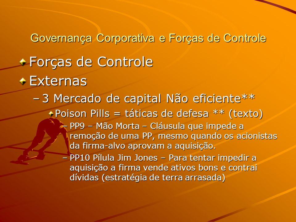Governança Corporativa e Forças de Controle Forças de Controle Externas –3 Mercado de capital Não eficiente** Poison Pills = táticas de defesa ** (tex