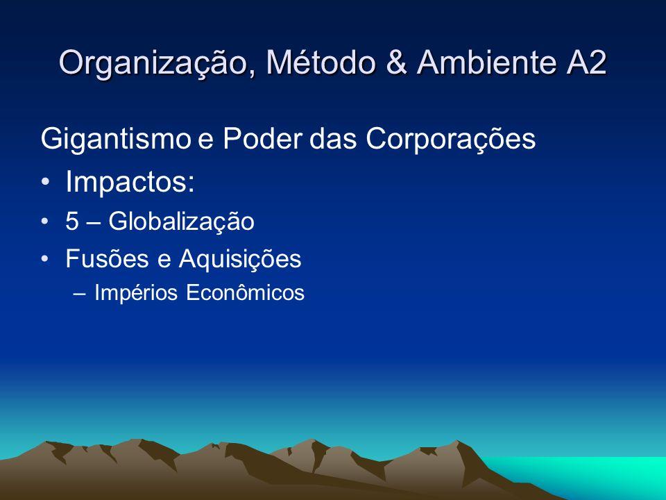 Organização, Método & Ambiente A2 Gigantismo e Poder das Corporações Impactos Negativos: Concentração Econômica Ex.