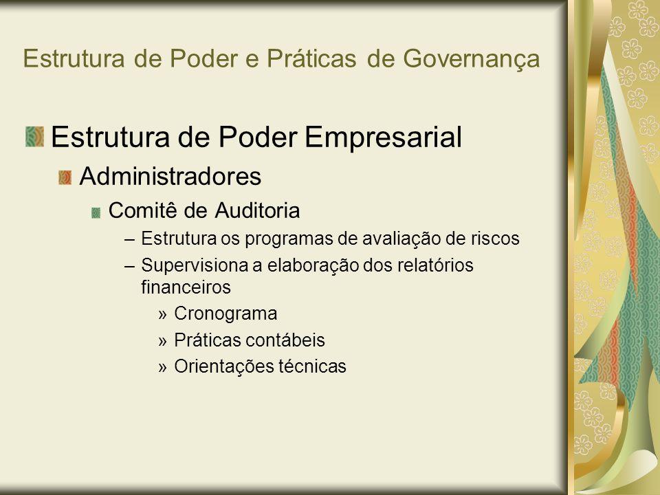 Estrutura de Poder e Práticas de Governança Estrutura de Poder Empresarial Administradores Comitê de Auditoria –Estrutura os programas de avaliação de
