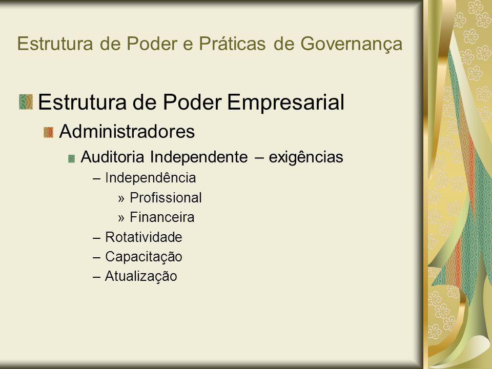 Estrutura de Poder e Práticas de Governança Estrutura de Poder Empresarial Administradores Auditoria Independente – exigências –Independência »Profiss
